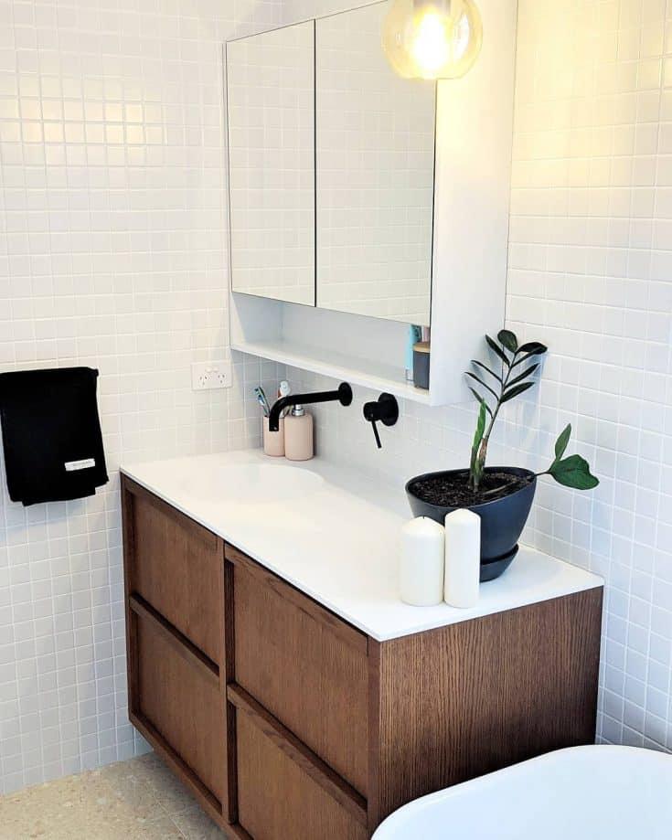 Corner Vanity with Overhead Cabinet