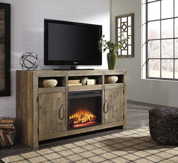 Rustic Fireplace TV Console in Contemporary Room