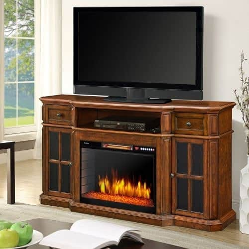 Classic Fireplace TV Stand from Dark Wood