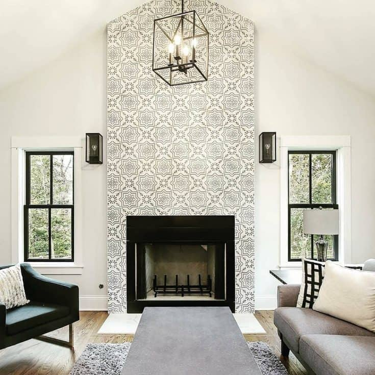 Decorative Fireplace Tiles in Ceiling Room
