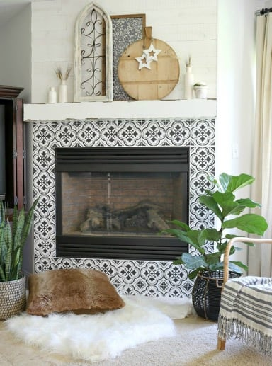 Decorative Stencil Patterns for Fireplace Tiles