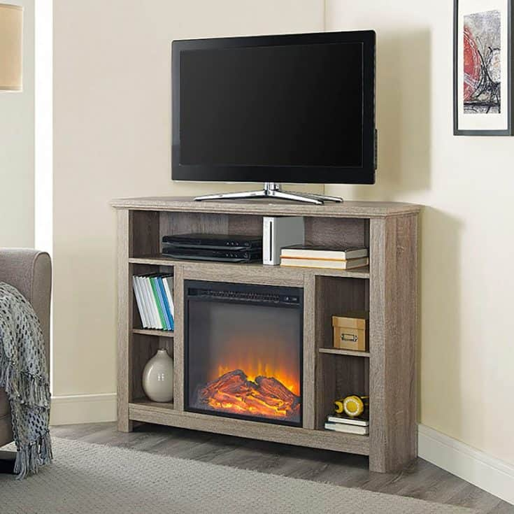 Corner Fireplace TV Stand from Driftwood