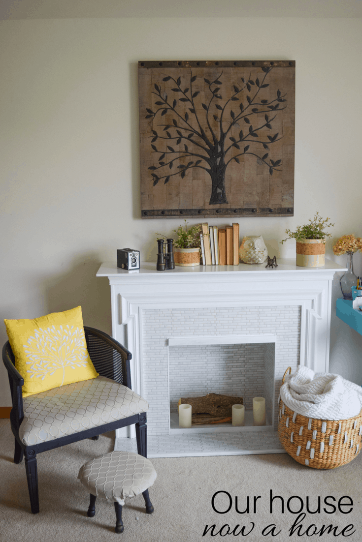 Cozy Fireplace with DIY Faux Tile