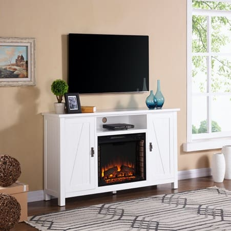 Farmhouse-style White Fireplace Cabinet