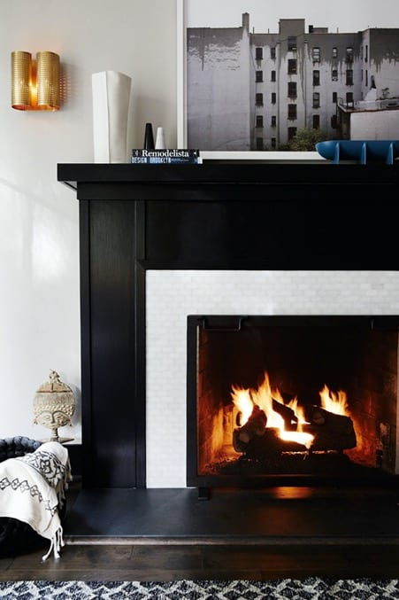 Faux Tile Fireplace with Mural