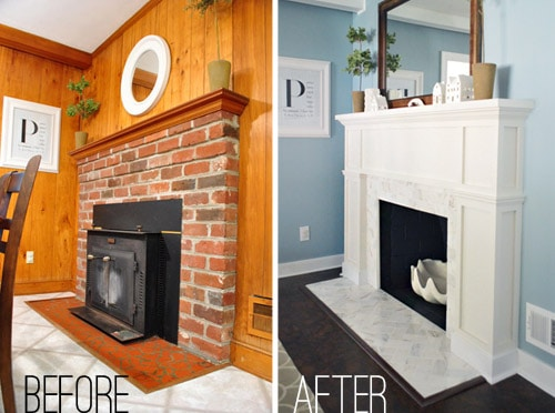 Fireplace Makeover with White Marble Tiles