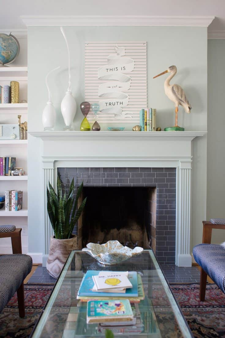 Glossy Grey Faux Fireplace Tile
