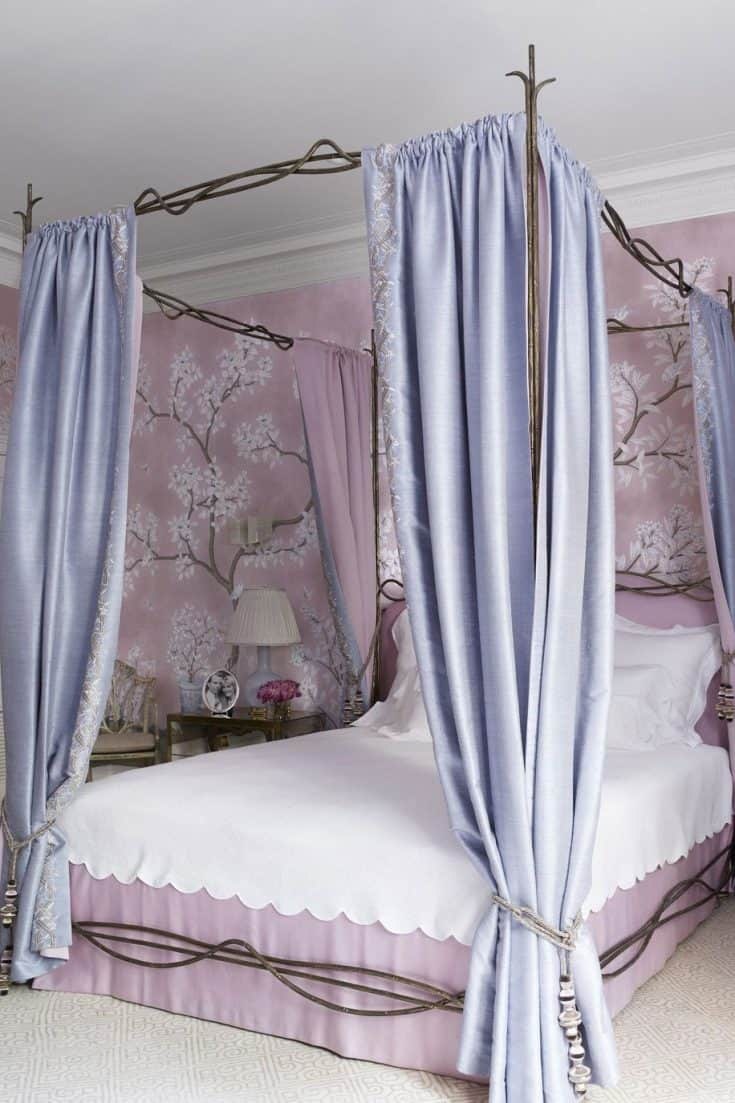 Light Purple Bedroom with Floral Wallpaper