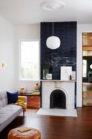 Mirrored Black Subway Tiles for Molded Fireplace
