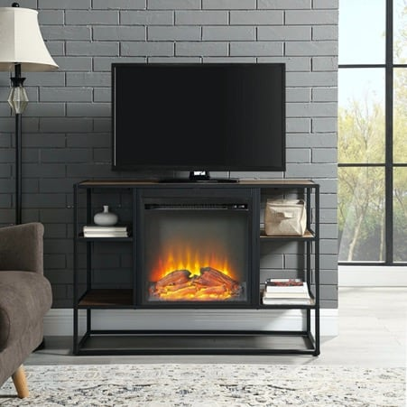 Open Fireplace Tv Stand with Stone Accent Wall