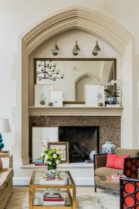 Penny Tiles for Fireplace
