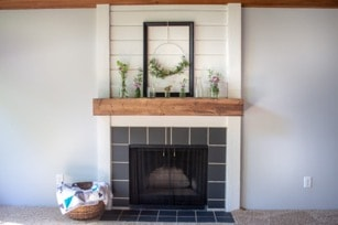 Repainted Stone Tiles for Fireplace