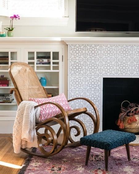 Sleek Fireplace Tiles with Subtle Fractal Design