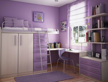 Small Purple Study and Bedroom Ideas