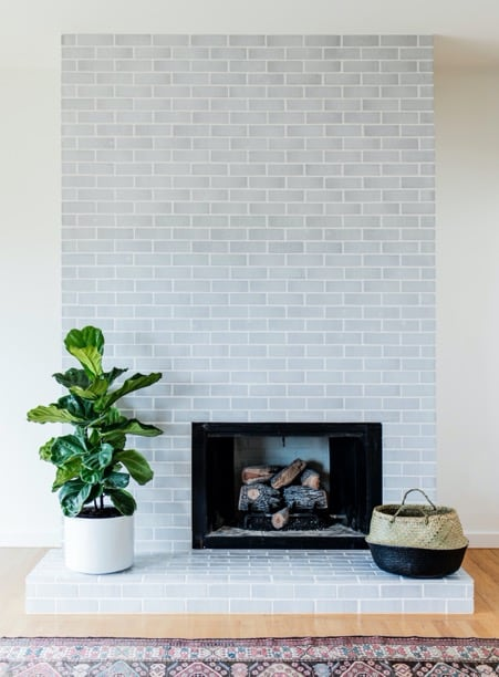 Subway Tile Fireplace as Accent Wall