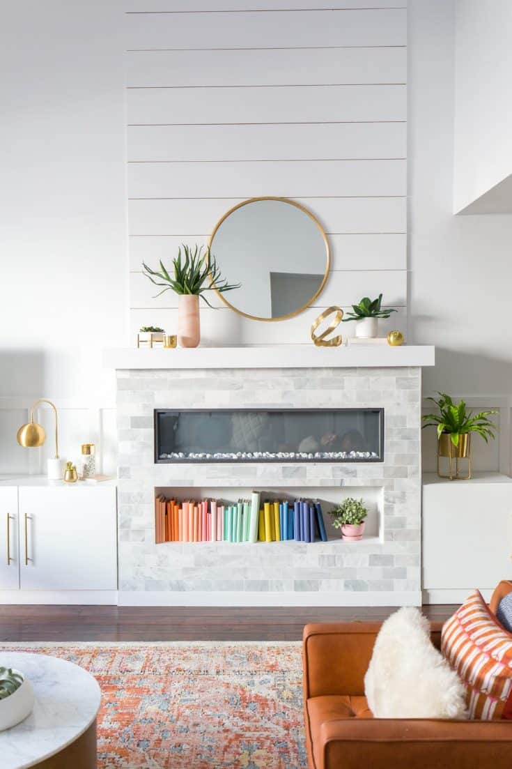 Electric Fireplace with Off-white Tiles