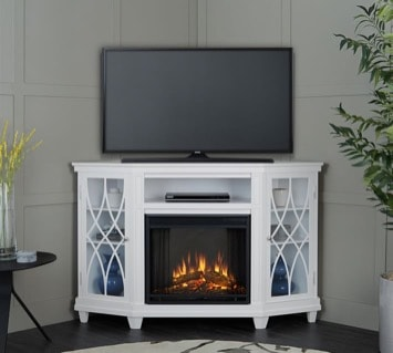 White Corner TV Stand with Engraved Doors