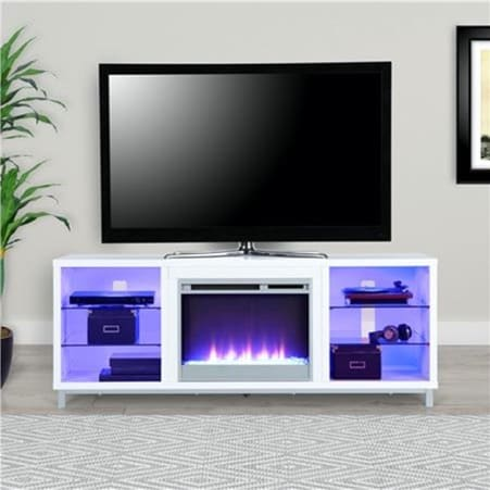 White Fireplace Cabinet with Purple Light