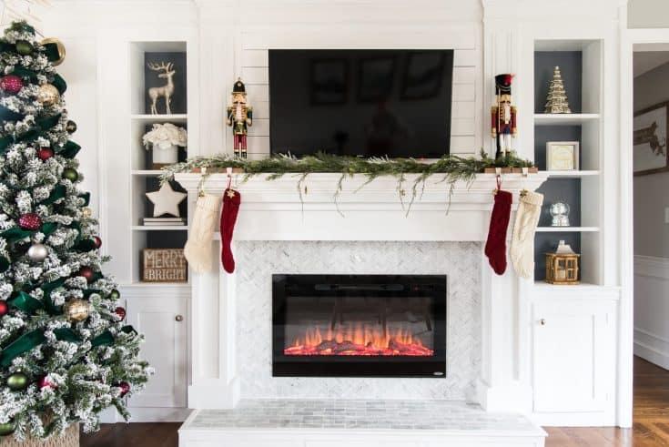 White Tiles for Modern Fireplace