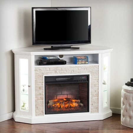 White Traditional Corner Fireplace Stand