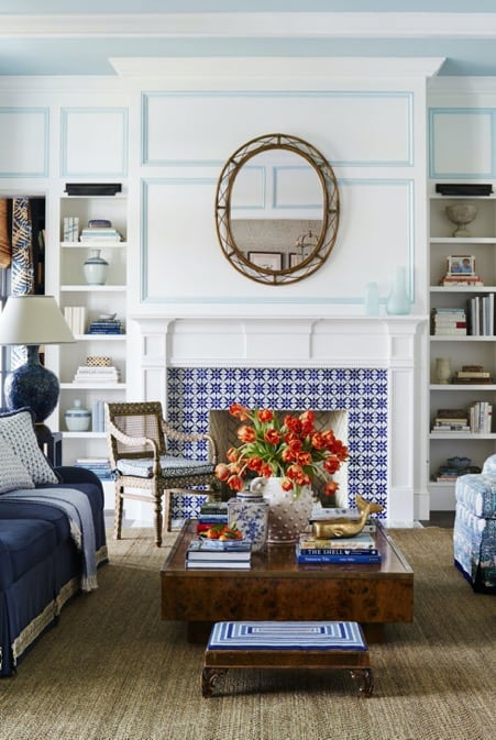 White and Blue Fireplace Tiles