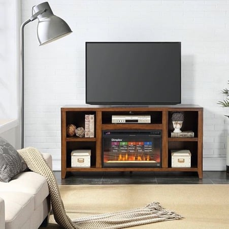 Wooden TV Stand with Multiple Open Shelves