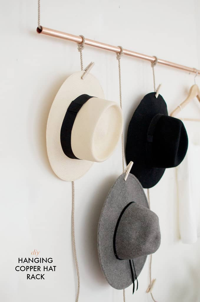 Simple Hat Hanger with Copper Bar